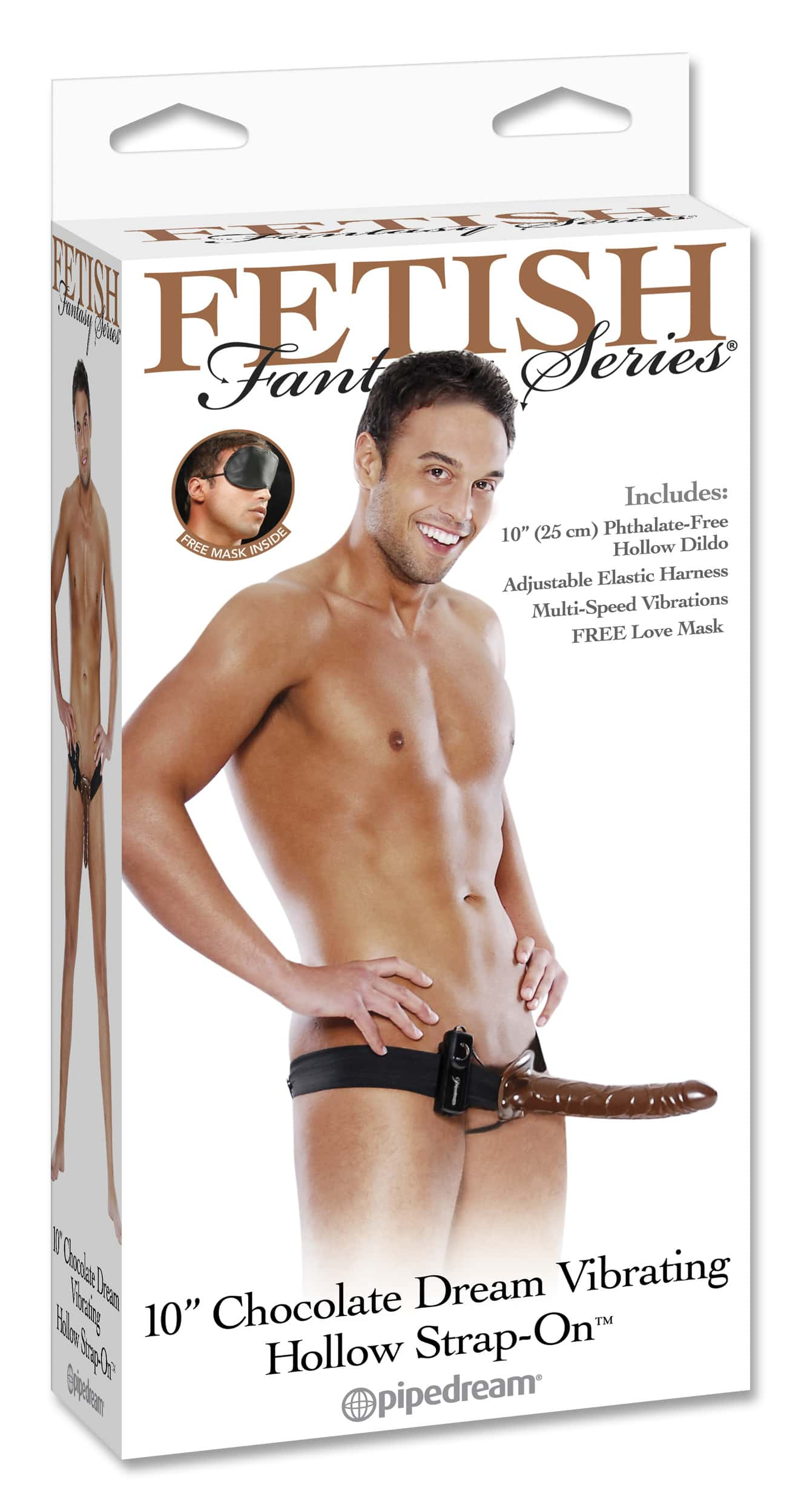 "10"" Chocolate Vibrating Strap-On PD3947-00-0"