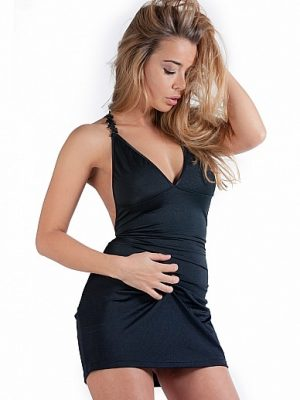Mini Dress With Open Back - Black L/XL-0