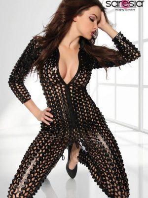 Black Metallic Clubwear Catsuit SA18152-0