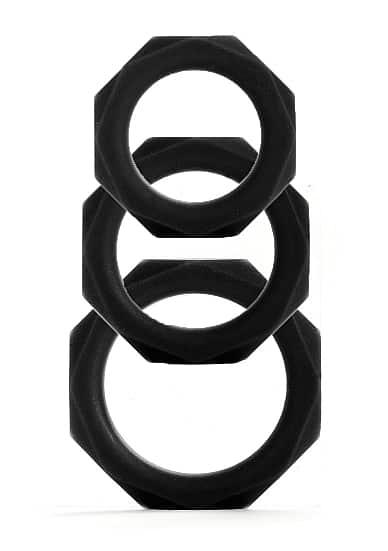 Octagon Rings - 3 Sizes - Black-0