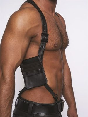Mister B - Leather Harness Wallet, Musta-0